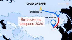 работа вахтой «Сила Сибири» 2020 февраль